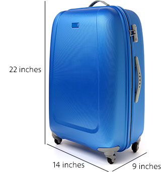 Carry-on bag allowance is 22 inches high by 14 inches long by 9 inches wide
