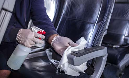 Image of cleaning on board the plane
